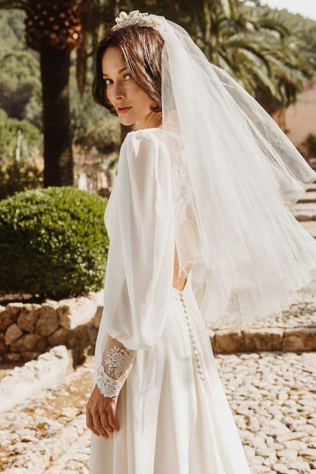 Vestido de novia vintage botones