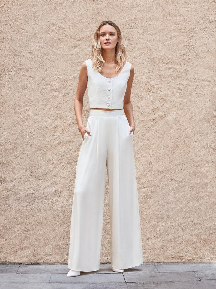 novia vintage con pantalon