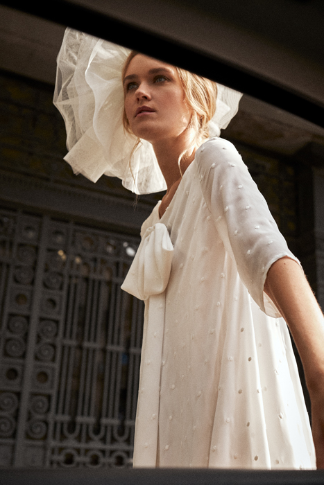 Vestido de novia vintage corto con tocado